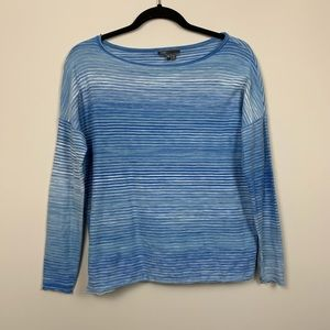 Vince   Blue White Striped Long Sleeve Scoop XS